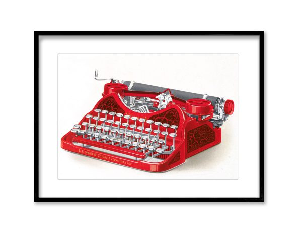 Red Typewriter | Vintage Retro Poster | Colour Factory Editions