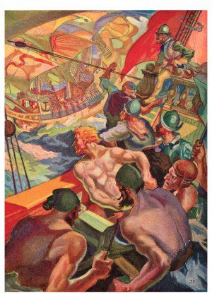 Sea Battle | Vintage Retro Poster | Colour Factory Editions